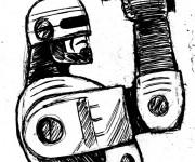 Coloriage et dessins gratuit Robocop porte son Arme à imprimer