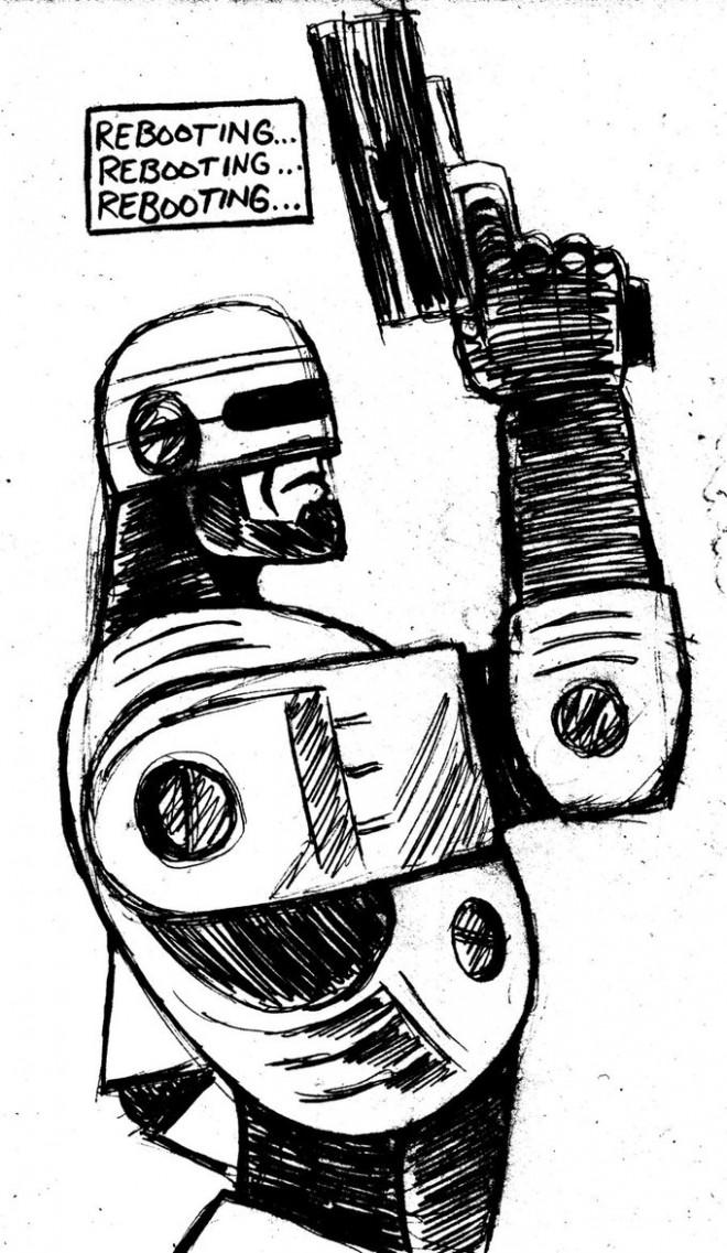 Coloriage et dessins gratuits Robocop porte son Arme à imprimer