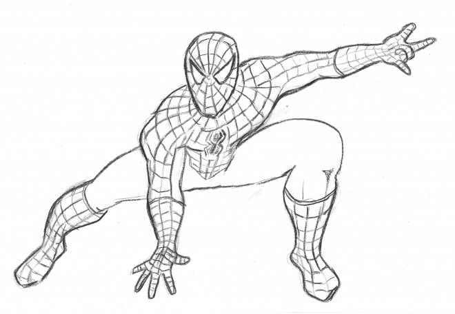 Coloriage spiderman au crayon dessin gratuit imprimer - Dessiner spiderman facile ...