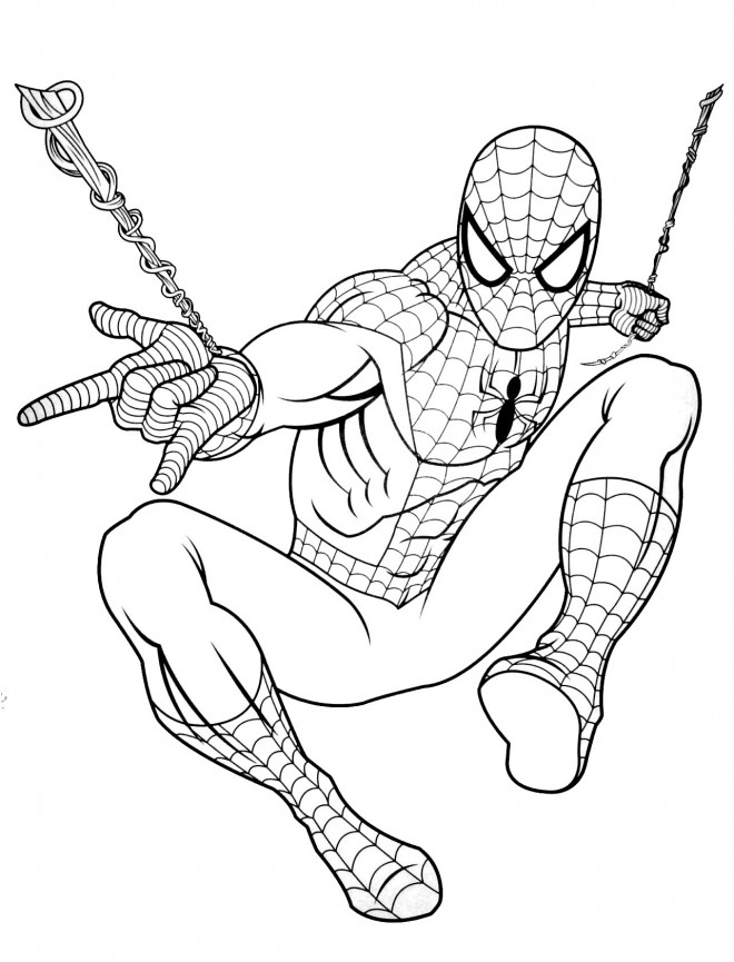 Coloriage et dessins gratuits Spiderman et son arme secret à imprimer