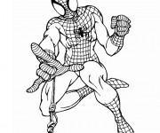 Coloriage et dessins gratuit Spiderman en noir et blanc à imprimer
