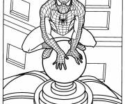 Coloriage Spiderman observe