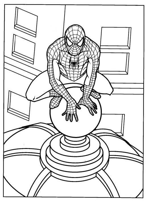 Coloriage et dessins gratuits Spiderman observe à imprimer