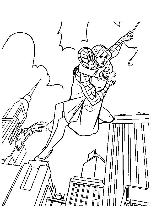 Coloriage et dessins gratuits Spiderman sauve sa bien aimée à imprimer
