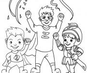 Coloriage Les Enfants Super Héros et La Fête