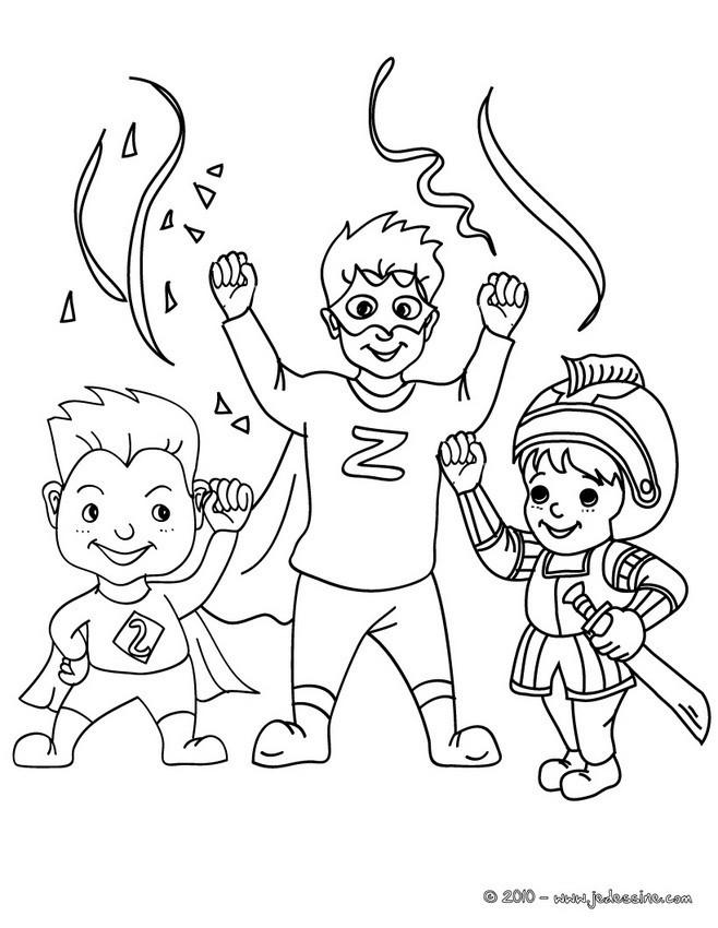 Coloriage et dessins gratuits Les Enfants Super Héros et La Fête à imprimer