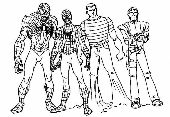 Coloriage Spiderman Et Ses Amis Dessin Gratuit A Imprimer