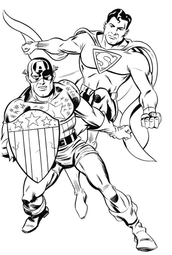 Coloriage Super Heros Superman Et Captain America