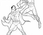 Coloriage Superman en combat
