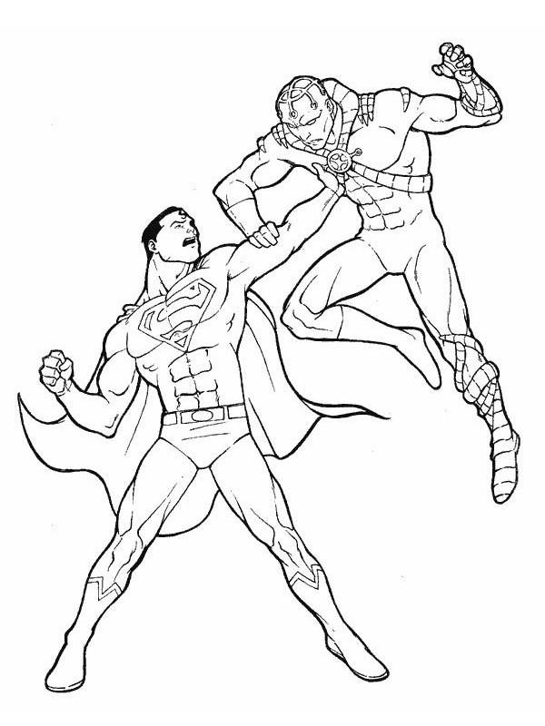 Coloriage et dessins gratuits Superman en combat à imprimer