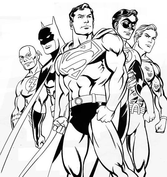 Coloriage Superman et Les Autres Super Héros