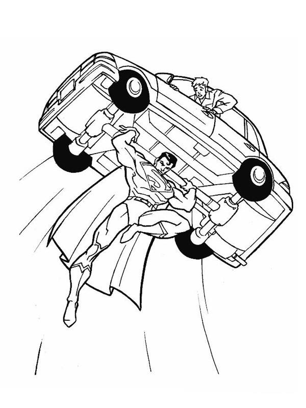 Coloriage et dessins gratuits Superman sauve le chauffeur à imprimer