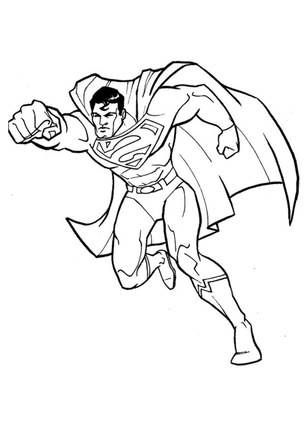Coloriage Superman tout Fort dessin gratuit à imprimer