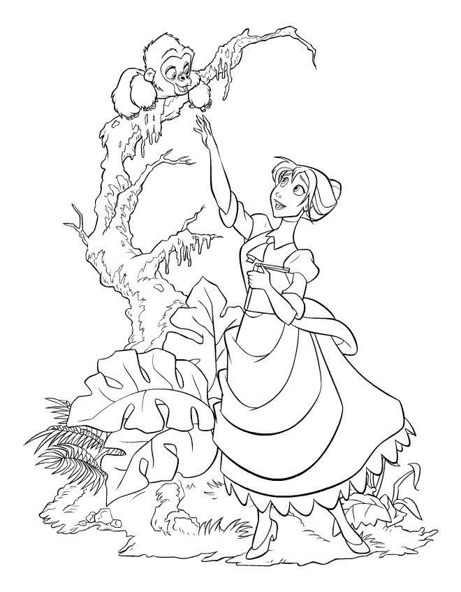 Coloriage et dessins gratuits Jane et Le Petit de Kerchak à imprimer