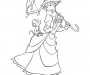 Coloriage Jane et Le Petit  singe rigolo