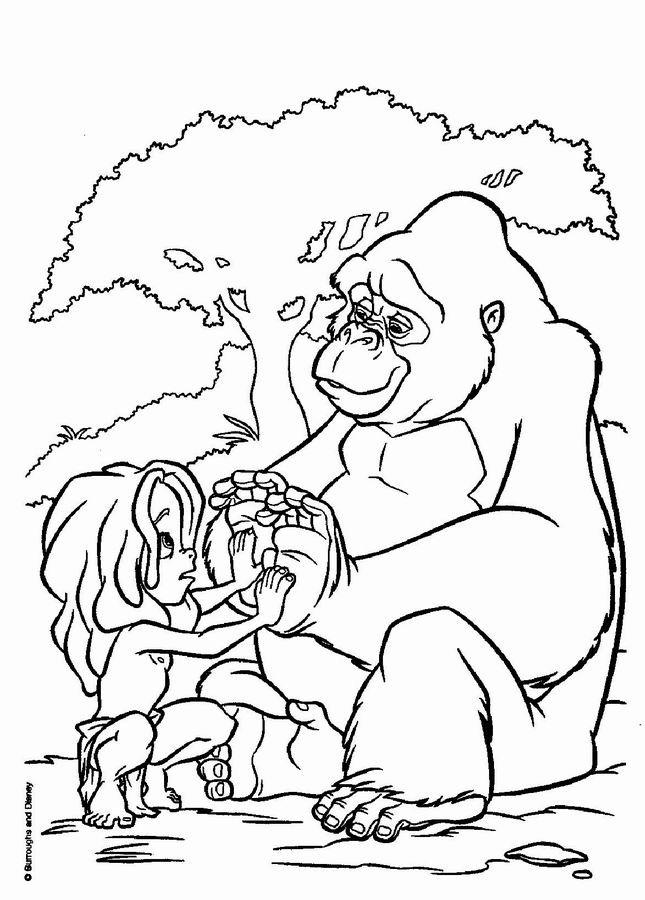 Coloriage et dessins gratuits Le Petit Tarzan et les chimpanzés à imprimer