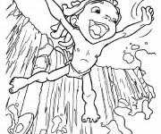 Coloriage Le Petit Tarzan se plonge dans la rivière