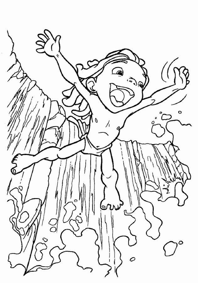 Coloriage et dessins gratuits Le Petit Tarzan se plonge dans la rivière à imprimer