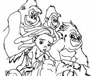 Coloriage Le Petit Tarzan sur La Montagne