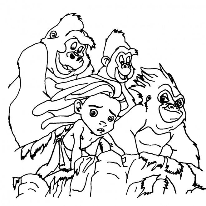 Coloriage et dessins gratuits Le Petit Tarzan sur La Montagne à imprimer