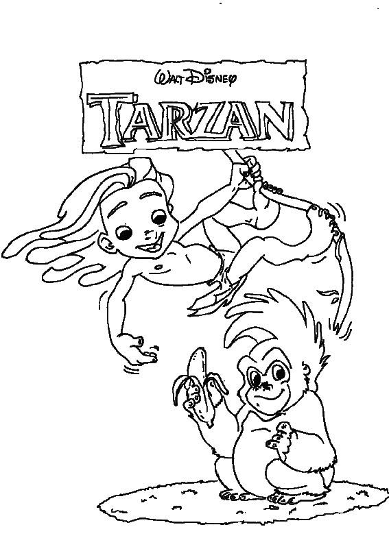 Coloriage et dessins gratuits Le Petit Tarzan Walt Disney à imprimer