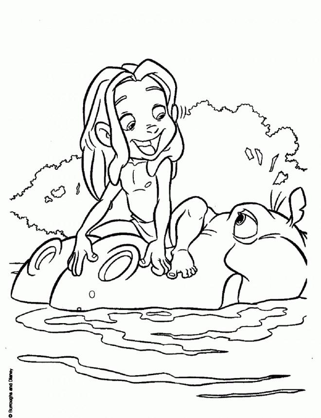 Coloriage et dessins gratuits Petit Tarzan et L'hippopotame à imprimer