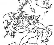 Coloriage Scène de Tarzan et Jane