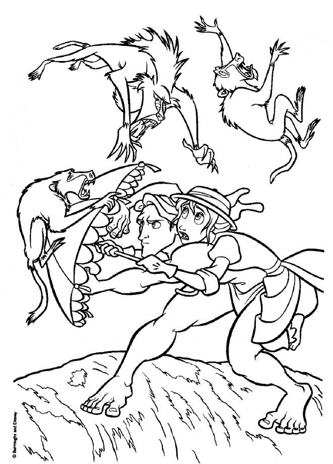 Coloriage et dessins gratuits Scène de Tarzan et Jane à imprimer