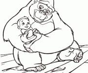 Coloriage Tarzan Bébé et La Gorille