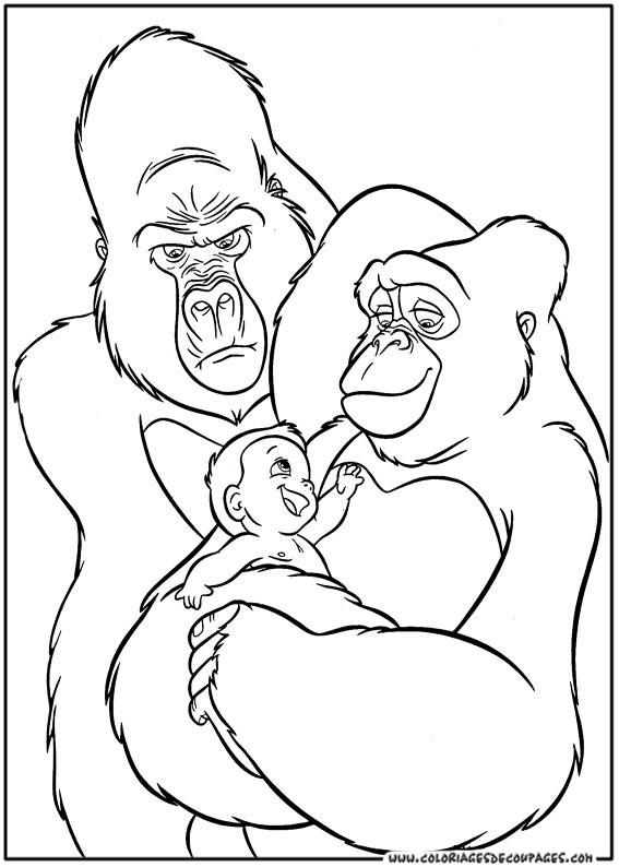 Coloriage et dessins gratuits Tarzan élevé par des grands singes à imprimer