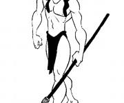 Coloriage Tarzan en noir et blanc