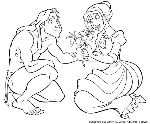 Coloriage Tarzan Et Jane Dessin Gratuit A Imprimer