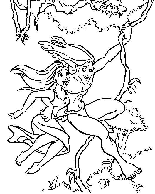 Coloriage et dessins gratuits Tarzan et Jane dans La Forêt à imprimer