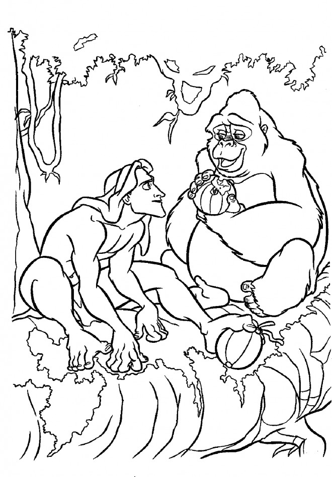 Coloriage et dessins gratuits Tarzan et Kerchak à imprimer