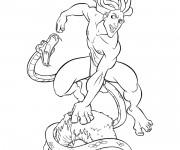 Coloriage et dessins gratuit Tarzan et Le Serpent à imprimer