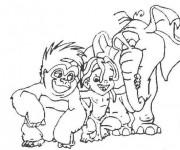 Coloriage Tarzan et ses amis