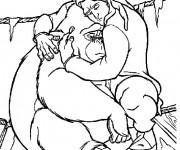 Coloriage Tarzan et son ami Tantor
