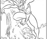 Coloriage Tarzan heureux dans La Forêt