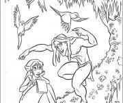 Coloriage Tarzan s'amuse avec Jane dans La Nature