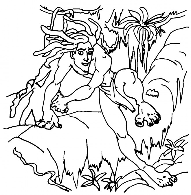 Coloriage et dessins gratuits Tarzan sur L'arbre à imprimer