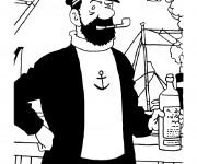 Coloriage Capitaine Haddock dans son Bateau