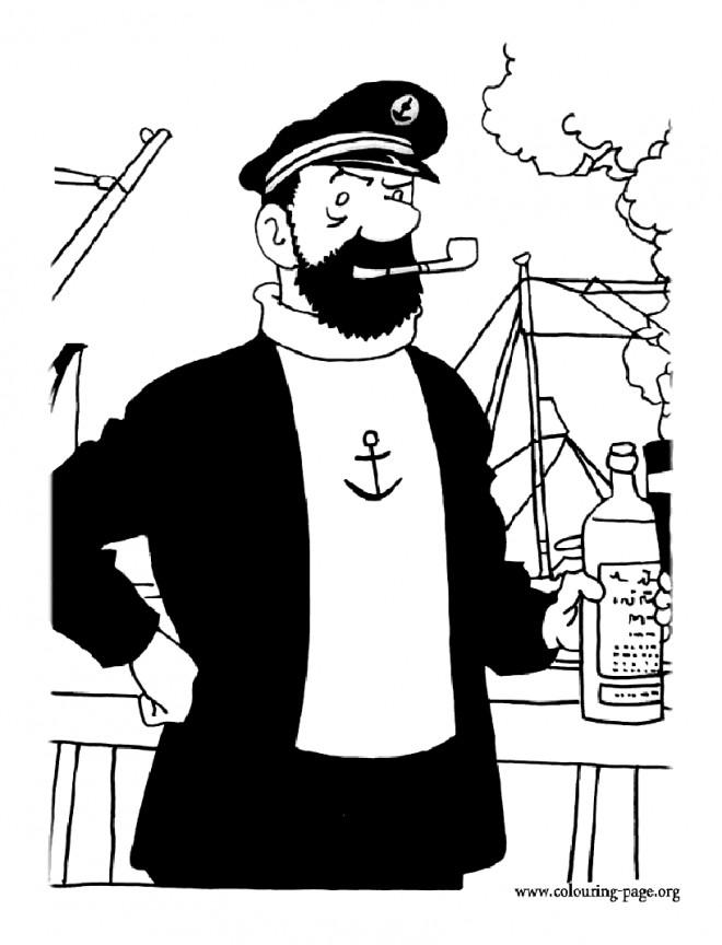 Coloriage et dessins gratuits Capitaine Haddock dans son Bateau à imprimer