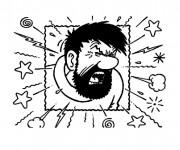 Coloriage et dessins gratuit Capitaine Haddock énervé à imprimer