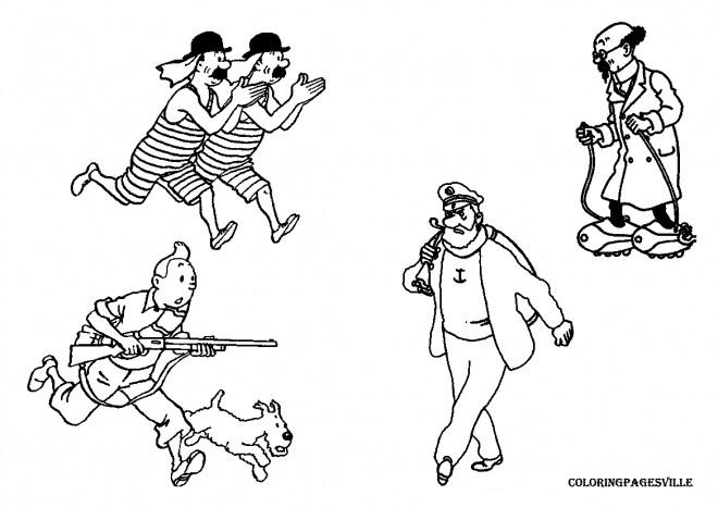 Coloriage Les Personnages De Tintin Dessin Gratuit A Imprimer