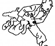 Coloriage Milou et Tintin s'enfuient