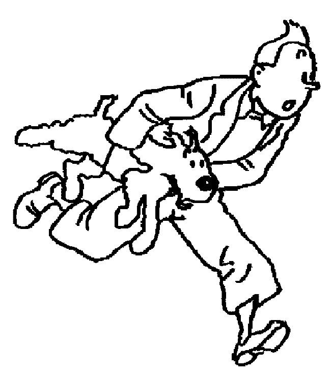 Coloriage Milou et Tintin s'enfuient dessin gratuit à imprimer