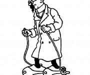 Coloriage Professeur Tournesol et ses inventions