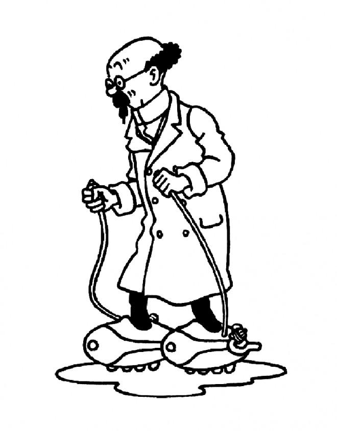 Coloriage et dessins gratuits Professeur Tournesol et ses inventions à imprimer