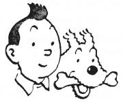 Coloriage et dessins gratuit Têtes de Tintin et Milou à imprimer