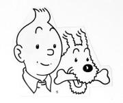 Coloriage Tintin à découper